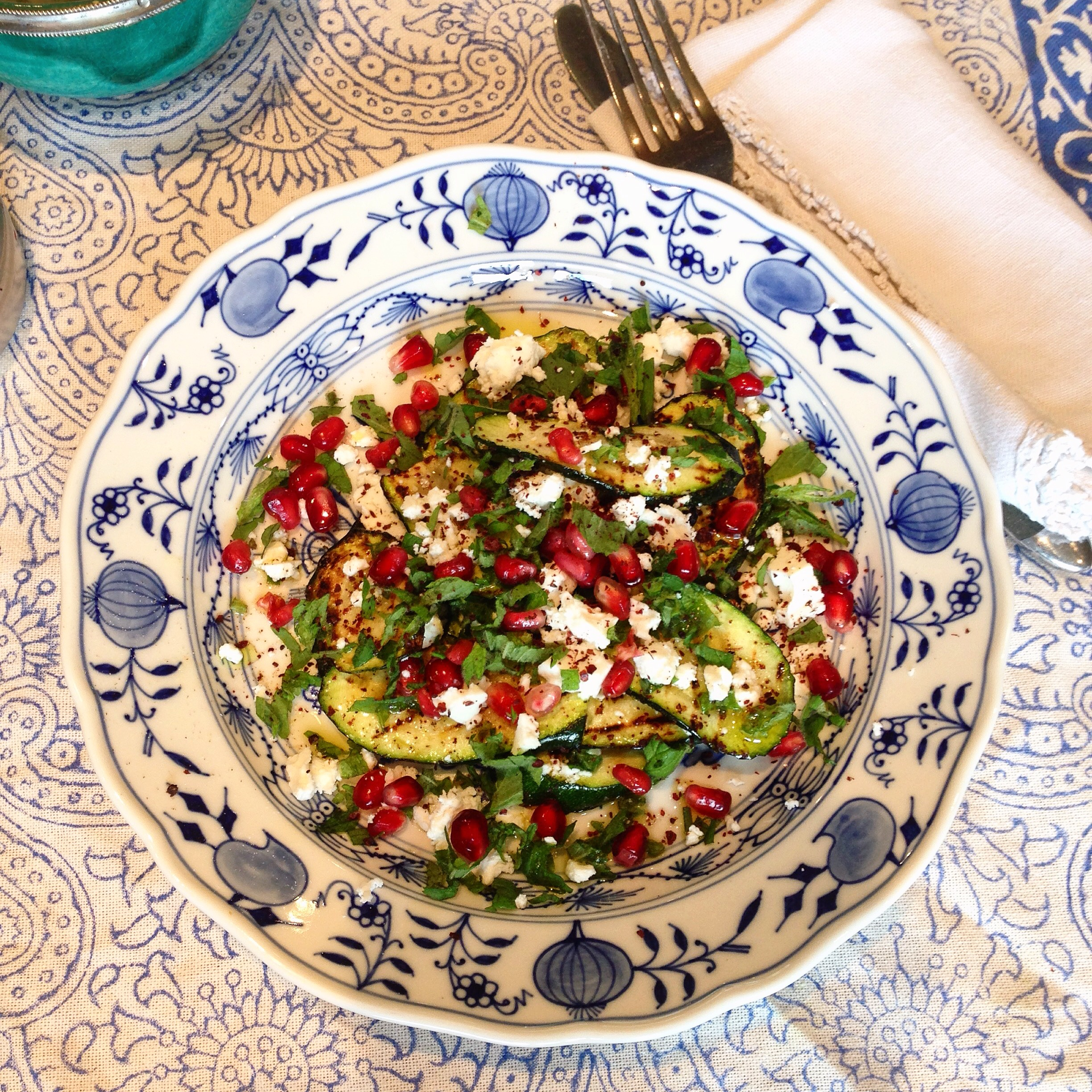 courgette and pomegranate salad